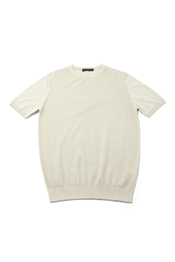 Washed Cotton Crewneck Half Knit_BE